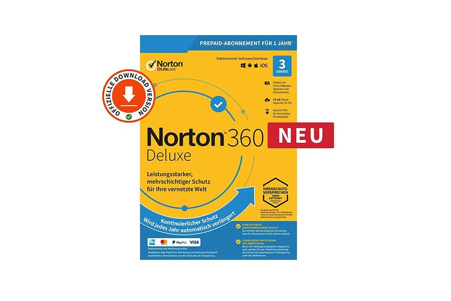 Norton 360 Deluxe (1 Jahr, 3 Geräte) - Download