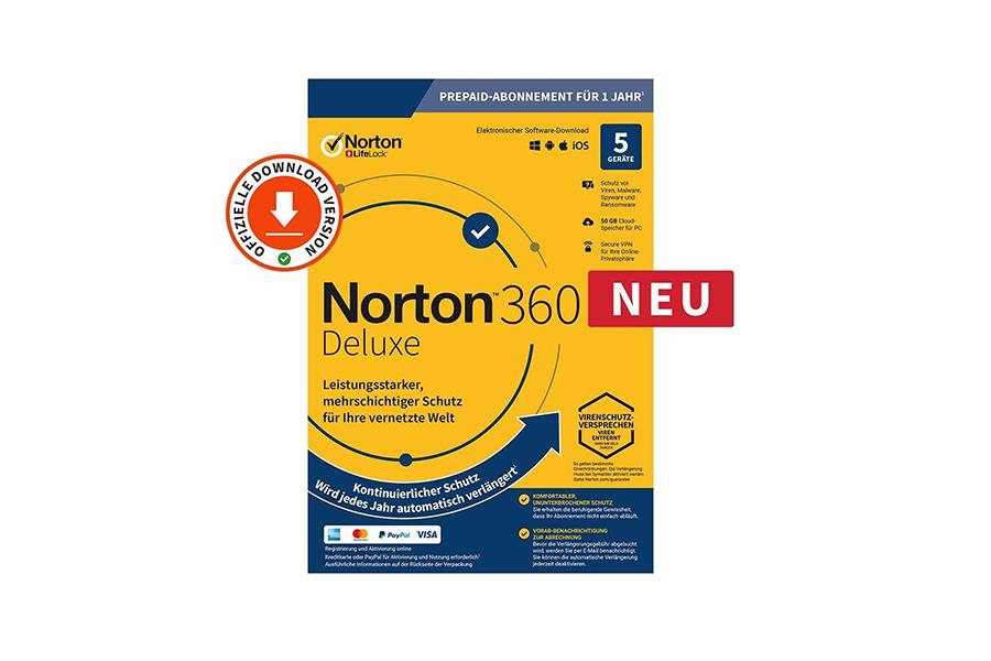 Norton 360 Deluxe (1 Jahr, 5 Geräte)  - Download