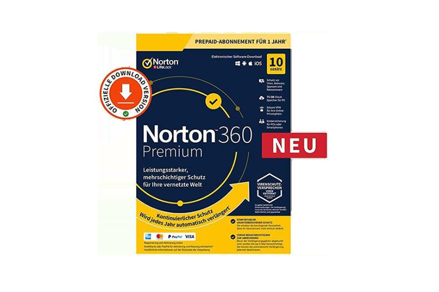 Norton 360 Premium (1 Jahr, 10 Geräte) - Download